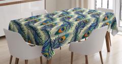 Tavus Kuşu Tüyü Desenli Masa Örtüsü Lacivert Yeşil