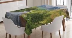 Dağ ve Gökyüzü Temalı Masa Örtüsü Orman Ağaç Yeşil