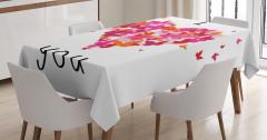Aşk Temalı Masa Örtüsü Rengarenk Kelebekler ve Kalp