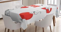 Çocuklar için Masa Örtüsü Sevimli Aşık Köpek Beyaz