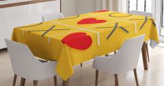 Aşk Oyunu Temalı Masa Örtüsü Kırmızı Romantik Kalpli