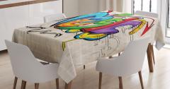 Rengarenk Masa Örtüsü Sokak Sanatı Temalı Müzik