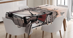 Karakalem Paris Manzaralı Masa Örtüsü MüzikTuruncu