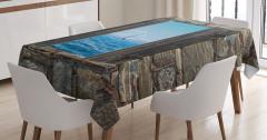 Ahşap Pencere Temalı Masa Örtüsü Deniz Kahverengi