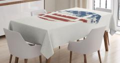 ABD Bayrağı Desenli Masa Örtüsü Amerikan Futbolu