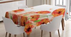 Turuncu Masa Örtüsü Gelincik Çiçeği ve Kelebekler