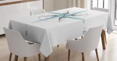 Mavi Pusula ve Yönler Desenli Masa Örtüsü Beyaz Fon
