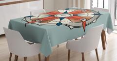 Mavi ve Kırmızı Pusula Desenli Masa Örtüsü Mavi Fon