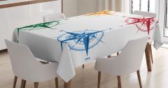 Rengarenk Pusula Desenli Masa Örtüsü Beyaz Fonlu