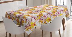 Bahar Temalı Masa Örtüsü Sarı Nergis Çiçekli Tasarım