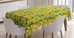 Yeşil Masa Örtüsü Sarı Nergis Çiçekli Tasarım