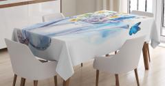 Suluboya Etkili Masa Örtüsü Çiçekli Şık Tasarım