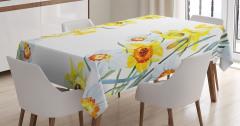 Suluboya Resmi Etkili Masa Örtüsü Sarı Nergis Çiçeği