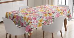 Bahar Temalı Masa Örtüsü Pembe Sarı Çiçekli Tasarım