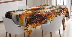 Masa Örtüsü Nostaljik Mozaik Desenli Turuncu Siyah