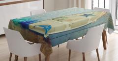 Açık Mavi Masa Örtüsü Deniz Yıldızı Balıkçı Dekoru