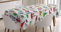Çocuklar için Masa Örtüsü Rengarenk Gemi Desenleri