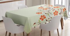 Çiçek Desenli Masa Örtüsü Çeyizlik Şık Turuncu Bej