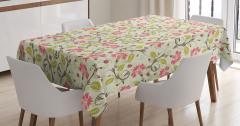 Çiçek Desenli Masa Örtüsü Çeyizlik Şık Pembe Yeşil