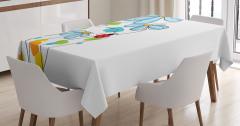 Bahar Temalı Masa Örtüsü Çeyizlik Şık Mavi Beyaz