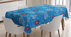 Bahar Temalı Masa Örtüsü Çeyizlik Mavi Kırmızı Çiçek