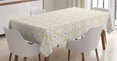 Beyaz Masa Örtüsü Şık Tasarım Sarı Yonca Desenli