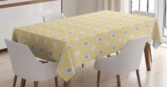 Sarı Masa Örtüsü Şık Tasarım Yonca Desenli Beyaz Gri