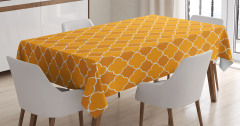 Turuncu Masa Örtüsü Şık Tasarım Sarı Yonca Desenli