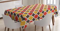 Rengarenk Masa Örtüsü Şık Tasarım Yonca Desenli