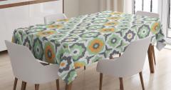 Yeşil Masa Örtüsü Şık Tasarım Turuncu Çiçek Desenli