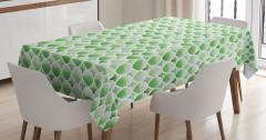 Yeşil Masa Örtüsü Şık Tasarım Yonca Figürleri Beyaz