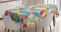 Rengarenk Masa Örtüsü Çiçek ve Yonca Figürleri