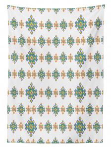 Turuncu Mavi Kilim Desenli Masa Örtüsü Beyaz Fonlu
