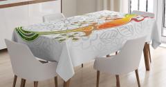 Çiçek Desenli Kurbağa Figürü Masa Örtüsü Rengarenk