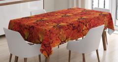 Turuncu Masa Örtüsü Çiçekli Şık Tasarım Kırmızı Sarı
