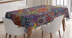 Rengarenk Çiçekler Desenli Masa Örtüsü Çeyizlik
