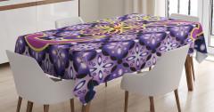 Mor Masa Örtüsü Çiçek Desenli Çeyizlik Şık Tasarım