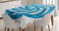 Mavi Beyaz Girdap Desenli Masa Örtüsü Ağ Görünümlü