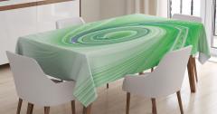 Yeşil Mavi Girdap Desenli Masa Örtüsü Cam Efektli