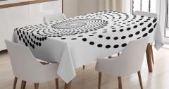 Siyah Puantiyeli Girdap Desenli Masa Örtüsü Beyaz