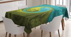 Yeşil Mavi Dini Girdap Desenli Masa Örtüsü Dekoratif