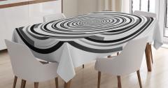 Siyah Gri Girdap Desenli Masa Örtüsü Şık Tasarım