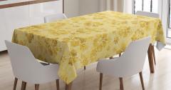 Sarı Masa Örtüsü Egzotik Çiçek Desenli Çeyizlik