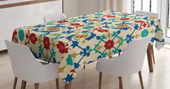 Çiçek Desenli Masa Örtüsü Rengarenk Çeyizlik