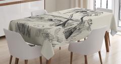 Deniz ve Palmiye Desenli Masa Örtüsü Elle Çizim Krem