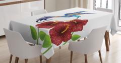 Bordo Çiçek ve Mor Kuş Desenli Masa Örtüsü Çeyizlik