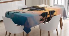 Doğada Huzur Temalı Masa Örtüsü Deniz Gün Batımı