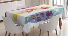 Palmiye Desenli Masa Örtüsü Sarı Kırmızı Mavi Beyaz