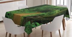 Tropikal Orman Manzaralı Masa Örtüsü Yeşil Doğa Ağaç