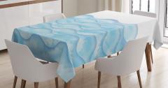 Dalga Desenli Masa Örtüsü Mavi Sulu Boya Şık Tasarım